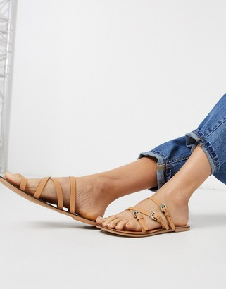 ASOS DESIGN Family leather flat sandals with buckle detail in tan