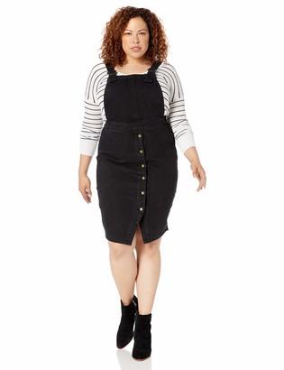City Chic Women's Apparel Women's Plus-Size Casual midi Pinafore Dress