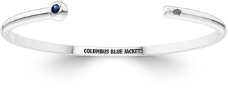 The Sporn Company Columbus Blue Jackets Engraved Sterling Silver Sapphire Cuff Bracelet