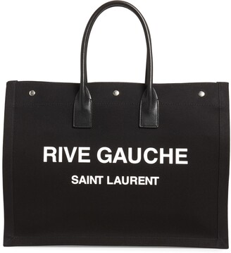 Saint Laurent Noe Rive Gauche Logo Canvas Tote
