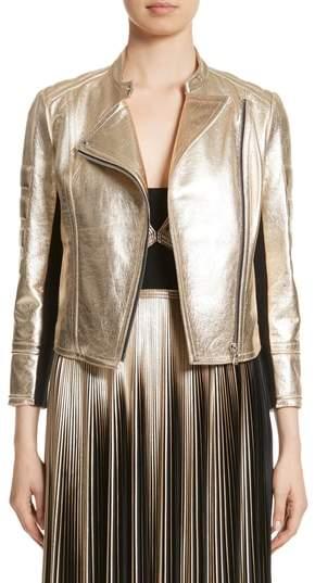 Yigal Azrouel Foiled Metallic Leather Moto Jacket