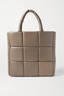 Stand Studio Assante Quilted Leather Tote - Mushroom