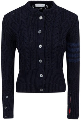 Thom Browne 4-Bar Stripe Cable-Knit Cardigan