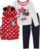 Children's Apparel Network Minnie Mouse Red Polka Dot Vest, Top & Pant Set - Infant & Toddler