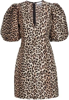 Ganni Leopard Puff Sleeve Mini Dress