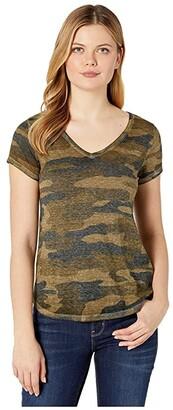 Lucky Brand Camo Burnout Tee (Green Multi) Women's T Shirt