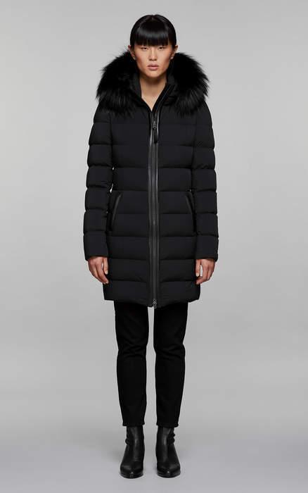 Mackage CALLA lightweight down coat with fur trimmed hood