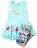 Juicy Couture Newborn/Infant Girls) Two-Piece Peplum Top & Printed Leggings Set
