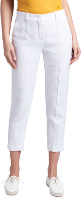 Loro Piana Pleated-Front Linen Cropped Pants