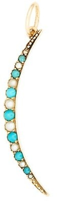 Stephanie Windsor Victorian 18K Yellow Gold, Persian Turquoise & 1.75MM Pearl Crescent Moon Charm