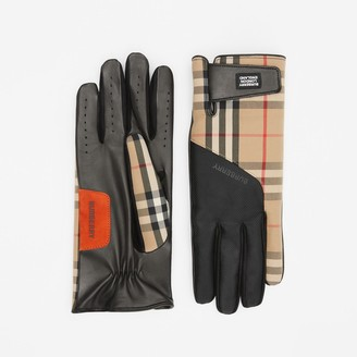 Burberry Logo Appliqué Vintage Check and Lambskin Gloves