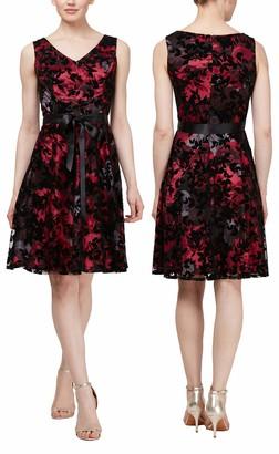SL Fashions Women's Velvet Burnout Fit and Flare Sleeveless Dress