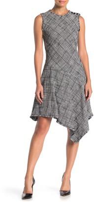 Taylor Asymmetrical Stretch Plaid Print Dress