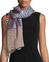 Diane von Furstenberg Ribbon Rectangles Silk Scarf