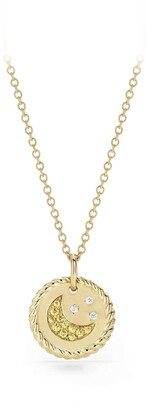 David Yurman Cable Collectibles Moon & Stars Necklace with Diamonds & Yellow Sapphires in 18K Gold