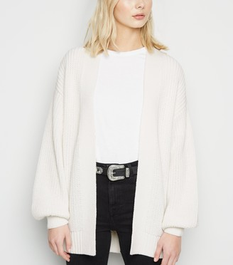 New Look Puff Sleeve Long Knit Cardigan