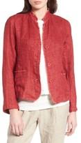 Eileen Fisher Petite Women's Organic Linen Mandarin Collar Jacket