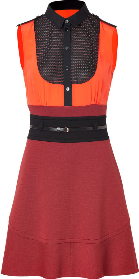 M Missoni Wool-Blend Mixed-Media Colorblock Belted Dress