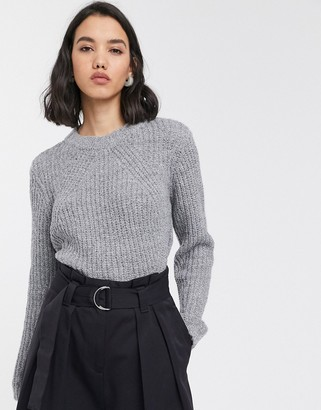 Only ribbed jumper in grey