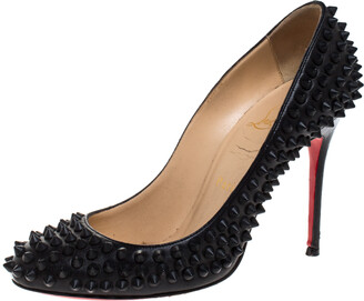 Christian Louboutin Black Leather Fifi Spike Pumps Size 36
