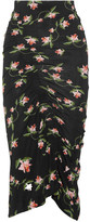 Preen by Thornton Bregazzi Shirley Ruched Floral-print Stretch-jersey Midi Skirt - Black