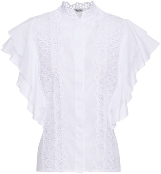 Charo Ruiz Ibiza Saida Ruffled Crocheted Lace And Cotton-blend Voile Top