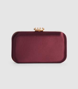 Reiss Nina - Satin Box Clutch in Plum