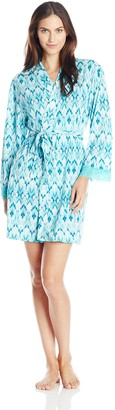 Ahh By Rhonda Shear Women's Plus Size Printed Short Robe
