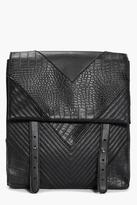 Boohoo Skye Mock Croc and Quilted Backpack