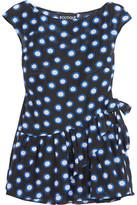 Moschino Ruffled Polka-dot Cotton-voile Top - Black