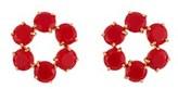 Les Nereides La Diamantine 6 Vermilion Red Stones Little Hoops.
