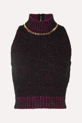 Versace Cropped Embellished Metallic Boucle Sweater - Black