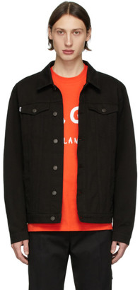 MSGM Black Denim Logo Square Jacket