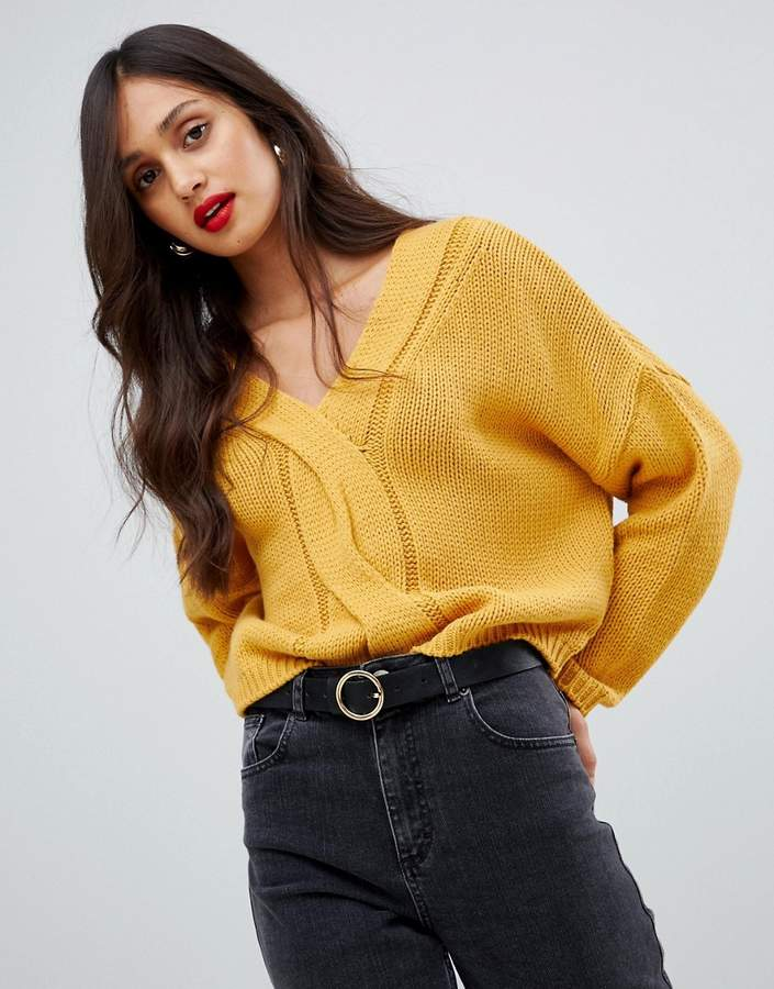 854484c9354 Yellow Cable Knit Sweater - ShopStyle