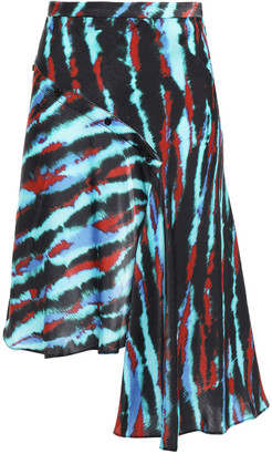 House of Holland Asymmetric Tie-dyed Satin Mini Skirt