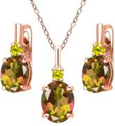 Gem Stone King 6.97 Ct Mango Mystic Topaz Canary Diamond 18K Rose Gold Plated Silver Pendant Earrings Set