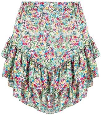 Soallure Floral-Print Mini Skirt