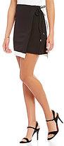 H Halston Faux Wrap Skirt