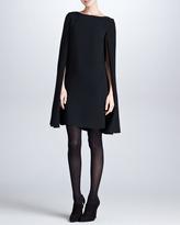Ralph Lauren Black Label Ashland Drop-Shoulder Cape-Sleeve Dress, Black