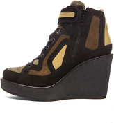 Pierre Hardy Suede Wedge Sneakers in Quadri Camouflage