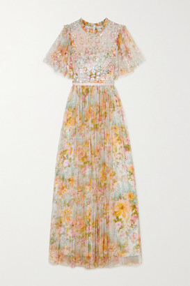 Needle & Thread Sunset Sequin-embellished Floral-print Tulle Gown - Peach