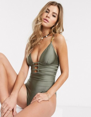 New Look strapping detail swimsuit in khaki