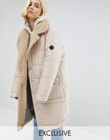 Puffa Oversized Padded Coat With Faux Shearling Shawl Collar
