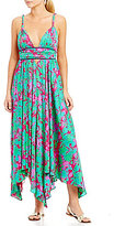 Free People Summer Nights Printed Deep V-Neck Tie Waist Maxi Dress