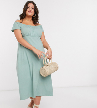 ASOS DESIGN Curve off shoulder midi sundress with pep hem in sage