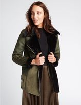 Marks and Spencer Faux Leather Shearling Jacket