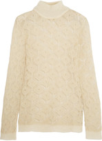 Balmain Metallic open-knit mohair-blend turtleneck sweater