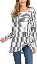 Magic Fit White & Black Stripe Side-Twist Tunic
