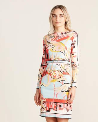 Emilio Pucci Flamingo Belted Knit Jersey Dress