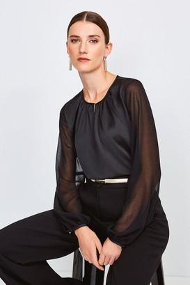 Karen Millen Sheer and Opaque Blouse